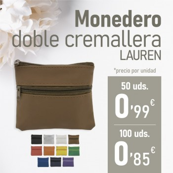 "CATALOGO BBC Monedero doble cremallera ""Lauren"""